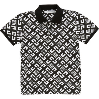 Black & White Allover 4G Logo Polo