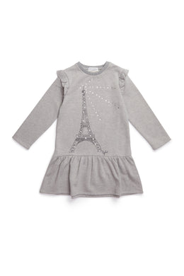Iffelle Grey Sweatdress with Eiffel Tower