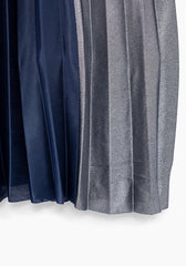 Navy Color Block Pleated Maxi Skirt