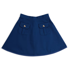 Royal Blue Twill Pocketed Skirt