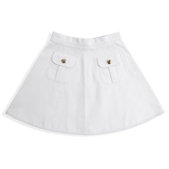 White Twill Pocketed Skirt