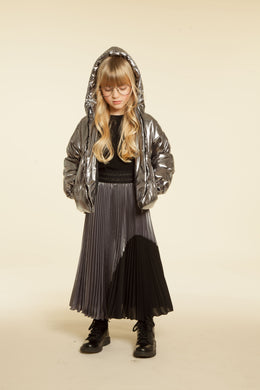 Black Silver Knife Pleat Skirt