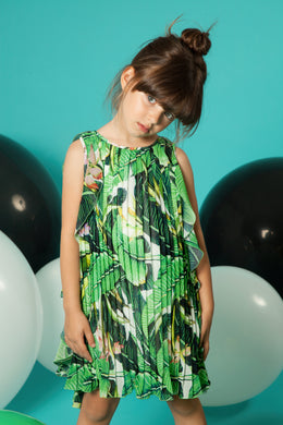 Leaf Print Pleated Chiffon Dress
