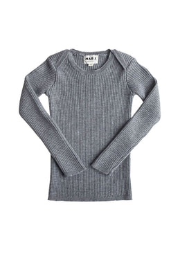 Sylfaen Grey Melange Rib Wool Top