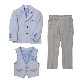 French Blue Grey 3 Pc Suit