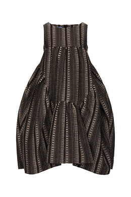 Black Woven Gauze Midi Dress