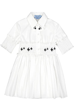 White Smocked Waist Poplin Dress