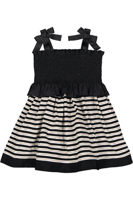 Long Length Black Smocked Bodice Dress with Striped Bottom