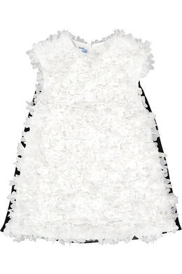 White Georgette Flower Embellished Dress with Back Pleats