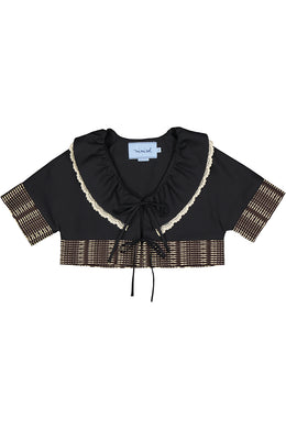 Black Cropped Polin Jacket with Woven Gauze Trim