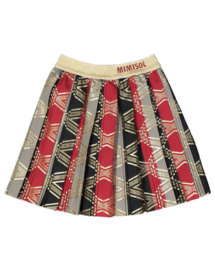 Pattern Pleated Tafetta Skirt