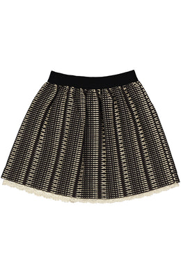 Black Lace Trimmed Woven Gauze Skirt