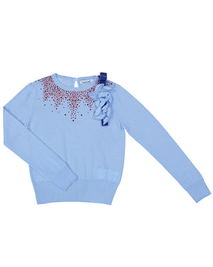 Blue Knit Sweater With Stones