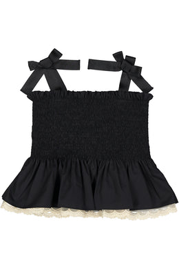 Black Laced Trimmed Smocked Top