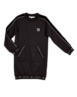 Black Logo Band Sweat Dress With Pocket