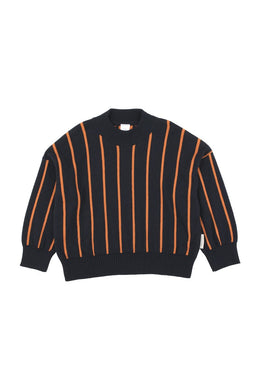 Navy/Red Stripes Mock Sweater