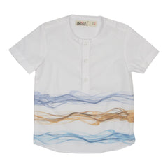 Blue/Orange Collarless Waves Print Shirt