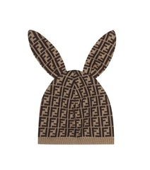 Brown Print Bunny Hat