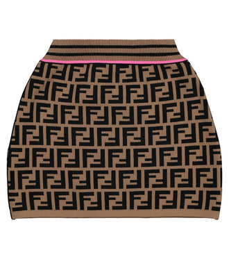 Brown Allover Logo Skirt