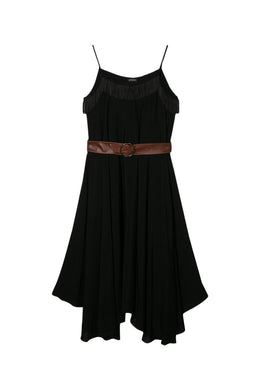 Black Midi Dress With Fringes