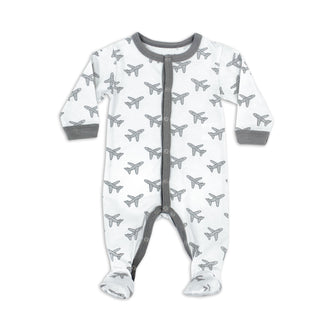 Grey Airplane Print Footie