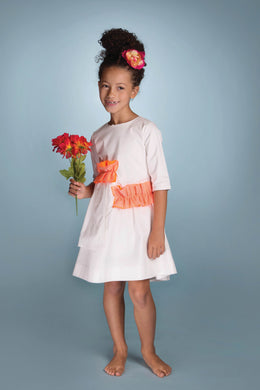 White Dress With Orange Ruffle