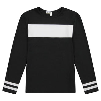 Black Varsity Stripe Top