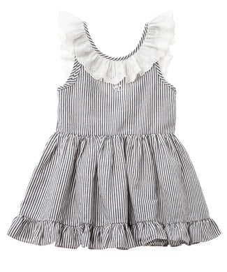 Navy Stripe Lace Collar Dress