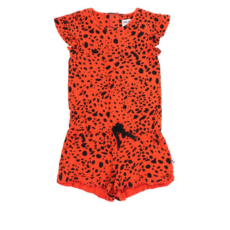 Pumpkin Red Short Printed Romper
