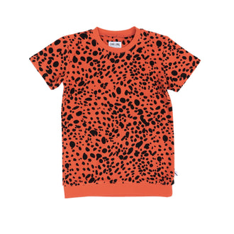 Pumpkin Red Printed Short Sleeve Terry Top