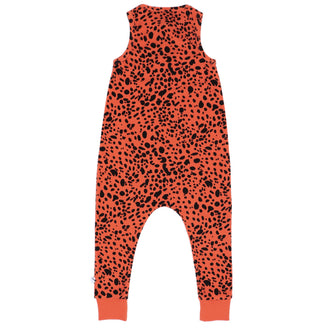 Pumpkin Red Long Printed Jumpsuit