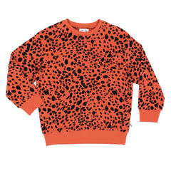 Pumpkin Red Printed Velour Sweater
