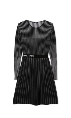 Black Knit Pleated Dress