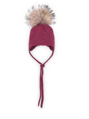 Pradera Burgundy Knit Hat with Pom Pom