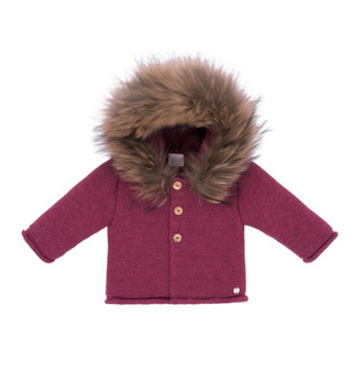 Esencial Burgundy Knit Jacket with Fur Hood