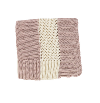 Pink/Ivory Striped Knit Blanket