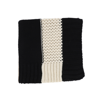 Black/Ivory Striped Knit Blanket