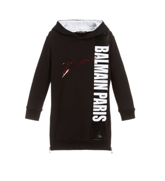 Black Large Logo Hoodie Dress
