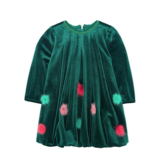 Emerald Green Velvet Bubble Dress With Pom Poms