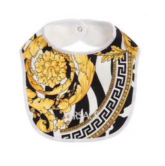 Black/Gold Baroque Print Bib