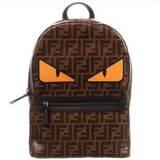 Brown Logo Backpack With Monster Eyes