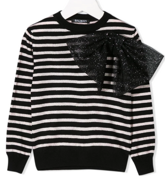 Pink & Black Striped Knit Sweater With Glitter Bow
