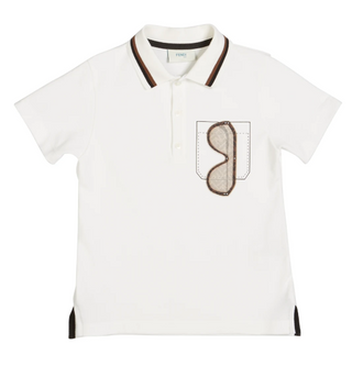 White Polo With Sunglesses on Pocket