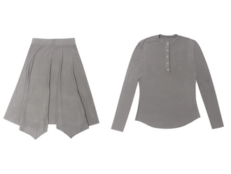 Grey Ribbed Skirt Set