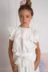 White Eyelet Embroidered Blouse