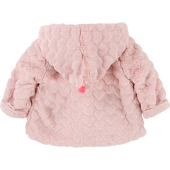 Pink Faux Fur Heart Coat