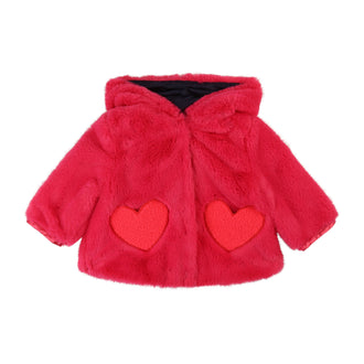 Berry Faux Fur Jacket With Heart Pockets