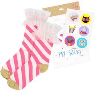 White&Pink Striped Socks