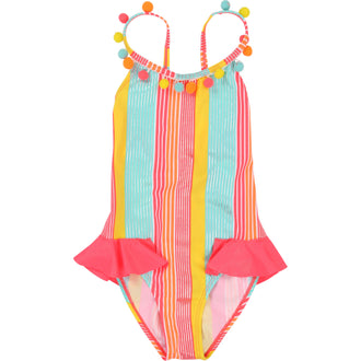 Rainbow Striped Pom Pom Swimsuit