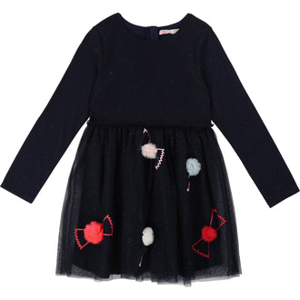 Navy Candy Pom Poms Glitter Tulle Dress